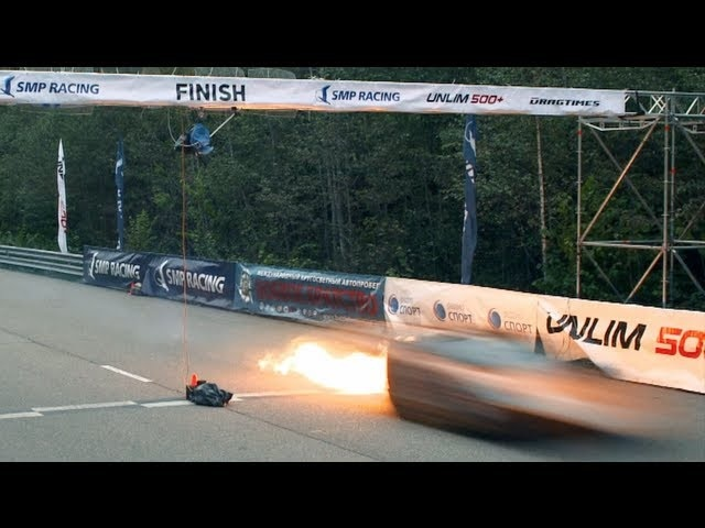 Lamborghini on fire — Top Speed Record, 402 kph (250 mph) on one mile