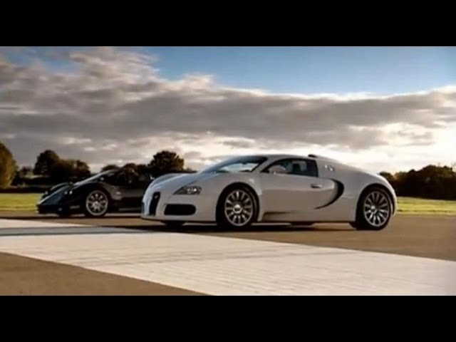 <em>Pagani</em> Zonda F vs Bugatti Veyron Drag Race - Top Gear - BBC