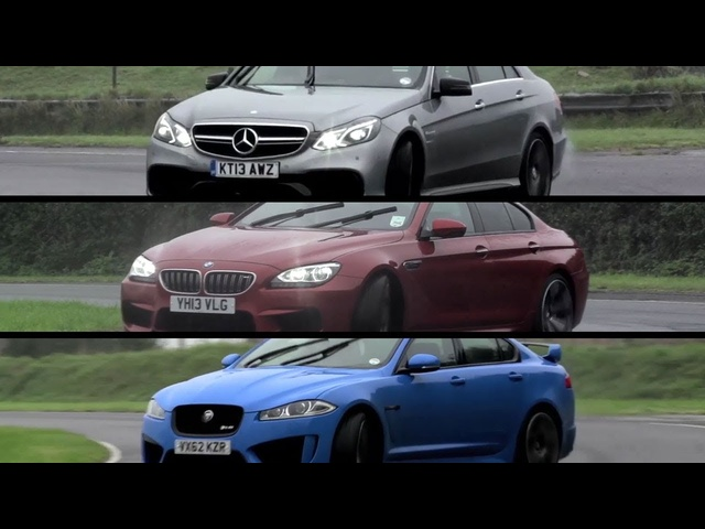 <em>Mercedes</em>-Benz E63 AMG S v BMW M6 Gran Coupe v Jaguar XFR-S - /CHRIS HARRIS ON CARS