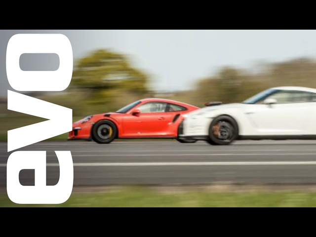 Nissan GT-R vs <em>Porsche</em> 911 GT3 RS - which is fastest? | evo DRAG BATTLE