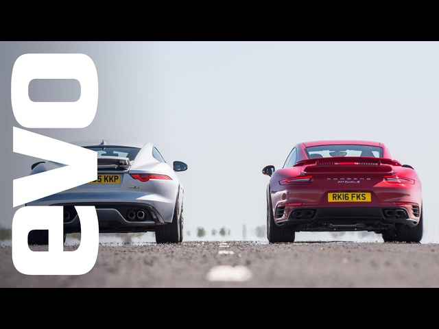 Jaguar F type R AWD vs <em>Porsche</em> 911 Turbo S - which is fastest? | evo DRAG BATTLE
