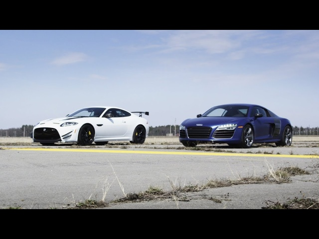 2014 <em>Audi</em> R8 V10 Plus vs. 2014 Jaguar XKR-S GT | STANDING MILE