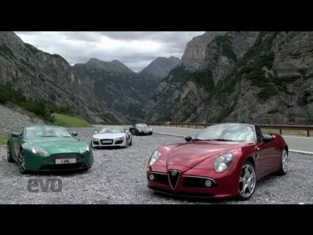 Audi R8 v Alfa 8C v Aston V8 v Porsche 911 -EVO