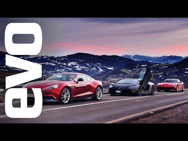 Ferrari F12 vs <em>Lamborghini</em> Aventador vs Aston Vanquish | evo REVIEW