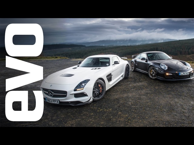 <em>Mercedes</em> SLS AMG Black vs Porsche 997 GT2 RS | evo TRACK BATTLE