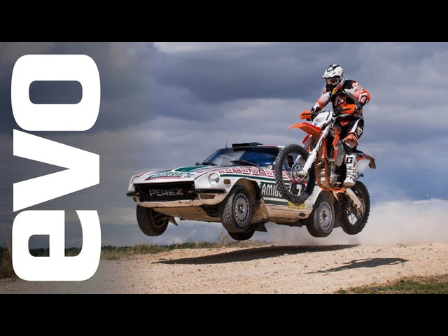 KTM 450 EXC v Datsun 240Z rally car | evo CAR v BIKE