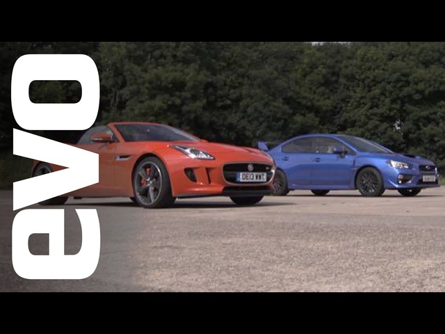Jaguar F-type V6 S v Subaru WRX STI | evo DRAG BATTLE