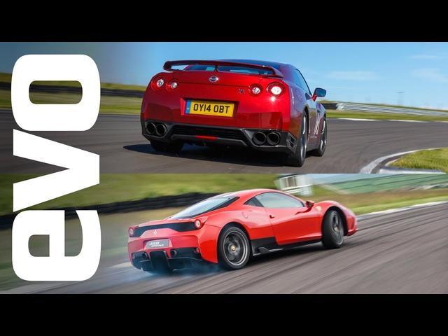 <em>Nissan</em> GT-R v Ferrari 458 Speciale | evo TRACK BATTLE