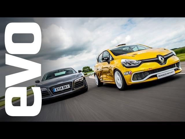 Audi R8 Plus vs <em>Renault</em> Clio Cup racecar | evo TRACK BATTLE
