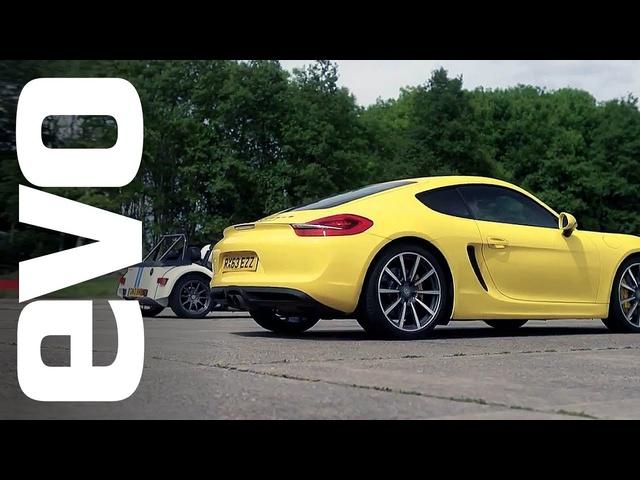 Porsche Cayman S v Caterham 7 Roadsport 140 | evo DRAG BATTLE