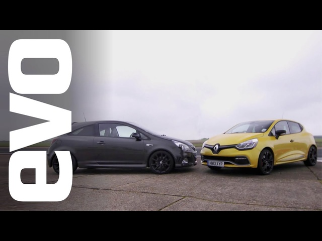Renault Clio 200 Turbo vs <em>Vauxhall</em> Corsa VXR Clubsport | evo TRACK BATTLE