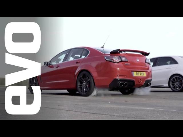Mercedes E63 AMG vs <em>Vauxhall</em> VXR8 GTS | evo DRAG BATTLES