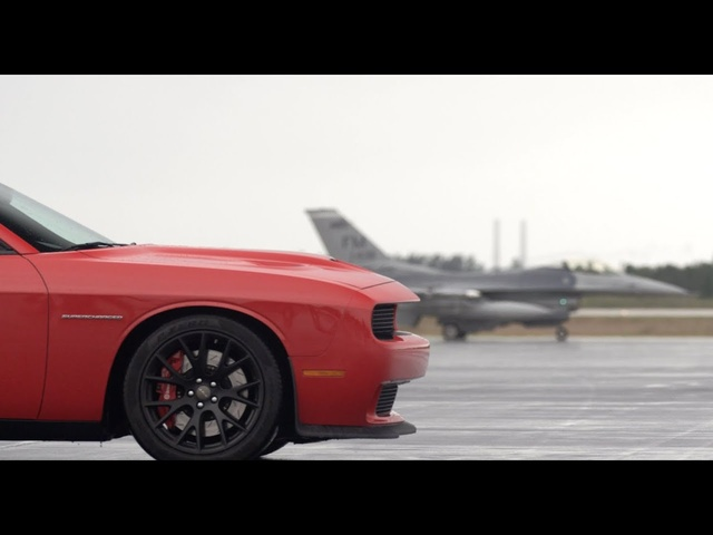 <em>Dodge</em> Challenger SRT Hellcat vs F16 Fighter Jet: Road & Track on /DRIVE