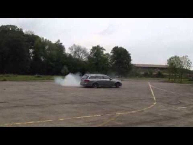 Doing a burnout/donut with a 2014 <em>Mercedes</em> Benz E63 Amg S Model