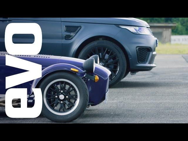 Range <em>Rover</em> Sport SVR v Caterham Seven 360R | evo drag races