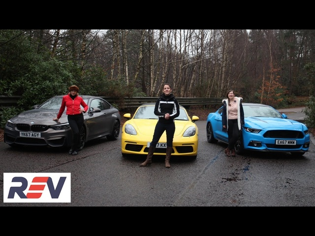 The REV Test: Sports cars. BMW M4 vs <em>Ford</em> Mustang vs Porsche Boxster