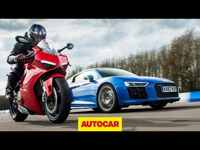 Drag race: <em>Audi</em> R8 vs Ducati Panigale V4 | Car vs Bike | Autocar
