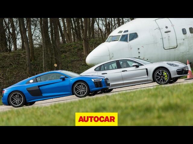 Drag race: Audi R8 vs <em>Porsche</em> Panamera Turbo S E-Hybrid | Autocar