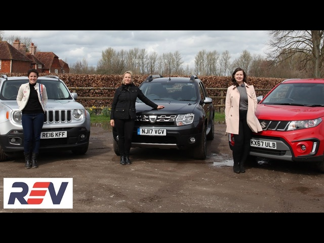 The REV Test: Budget SUVs. Dacia Duster vs Jeep Renegade vs <em>Suzuki</em> Vitara.