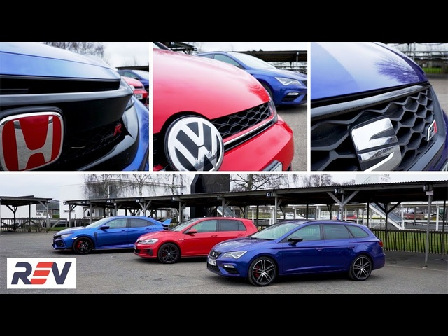 The REV Test: Hot hatches. <em>Honda</em> Civic Type R vs Seat Leon ST Cupra vs Volkswagen Golf GTI