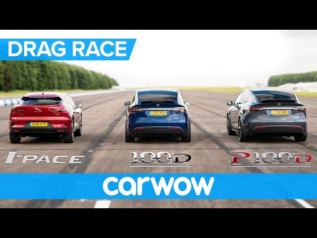 Jaguar I-Pace vs <em>Tesla</em> Model X 100D & P100D - DRAG RACE, ROLLING RACE AND BRAKE TEST