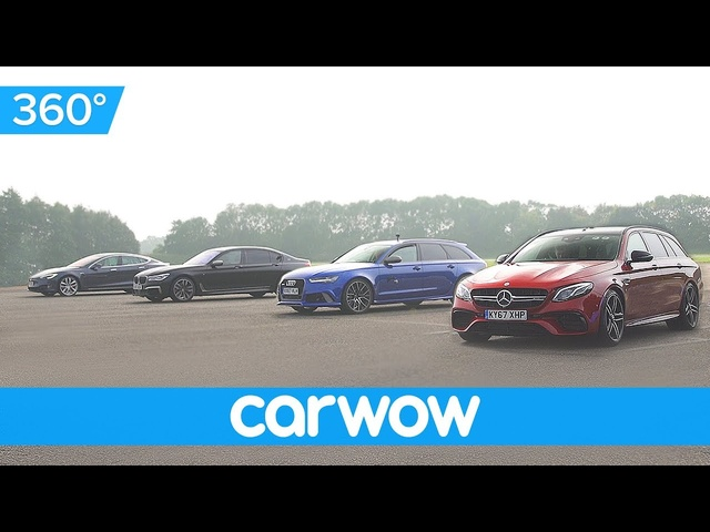 <em>Tesla</em> Model S v BMW M760 v Audi RS 6 v Mercedes-AMG E63 - 360 DRAG RACE