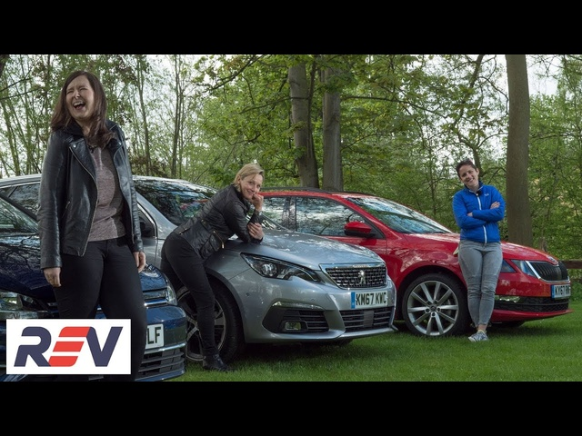The REV Test: Small estate cars. <em>Peugeot</em> 308 SW vs Skoda Octavia estate vs Volkswagen Golf estate