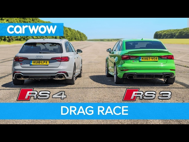<em>Audi</em> RS4 vs RS3 - DRAG RACE, ROLLING RACE & BRAKE TEST