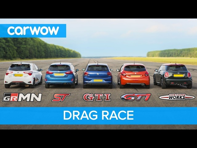Polo GTI v Fiesta ST v Yaris GRMN v MINI JCW v 208 GTI - DRAG and ROLLING RACE