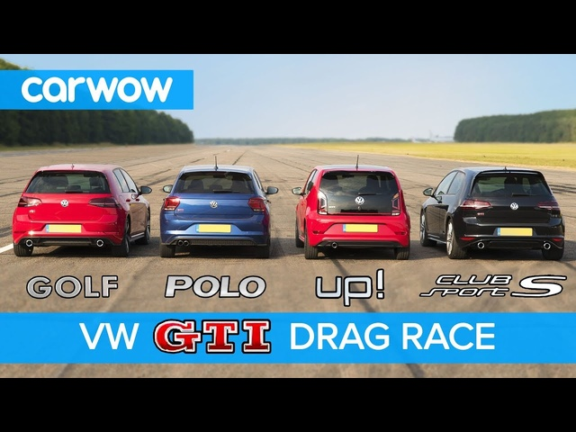 VW Golf GTI v Polo GTI v Golf Clubsport S v Up! GTI - DRAG & ROLLING RACE | carwow
