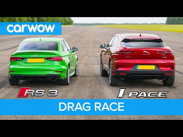 <em>Audi</em> RS3 vs Jaguar I-Pace - Petrol vs Electric - DRAG RACE, ROLLING RACE & BRAKE TEST