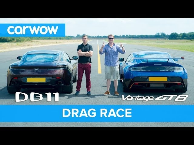 Aston Martin Vantage GT8 vs DB11 - DRAG RACE, ROLLING RACE & BRAKE TEST | Mat vs Shmee pt 3/4