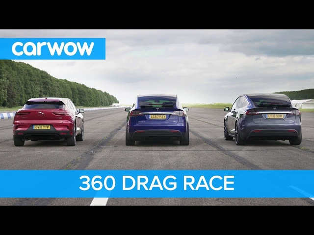 <em>Tesla</em> Model X 100D & P100D vs Jaguar I-Pace – 360° DRAG & ROLLING RACE
