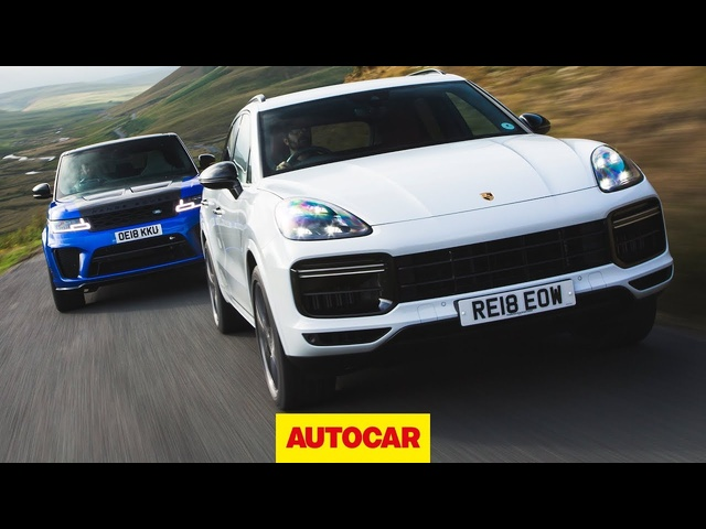 <em>Porsche</em> Cayenne Turbo vs Range Rover Sport SVR - £100k SUVs reviewed | Autocar