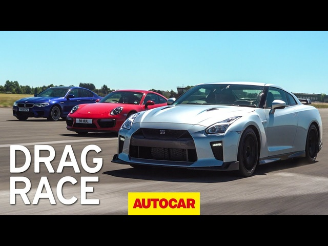Litchfield Nissan GT-R vs BMW M5 vs <em>Porsche</em> 911 Turbo S drag race | Autocar