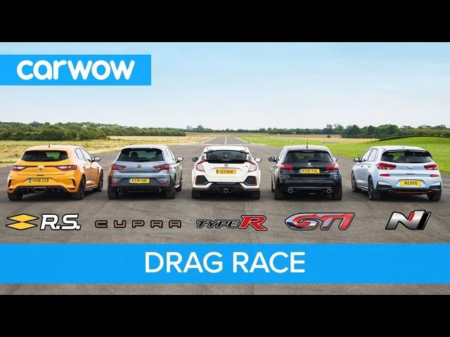 i30N vs Type-R vs Megane RS vs Cupra R vs 308 GTi -DRAG RACE, ROLLING RACE, BRAKE TEST & REVIEW!