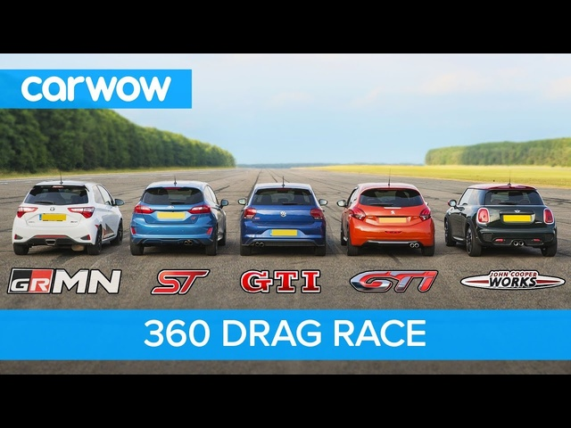 Polo GTI vs Fiesta ST vs Yaris GRMN vs MINI JCW vs 208 GTI - 360 DRAG RACE and ROLLING RACE