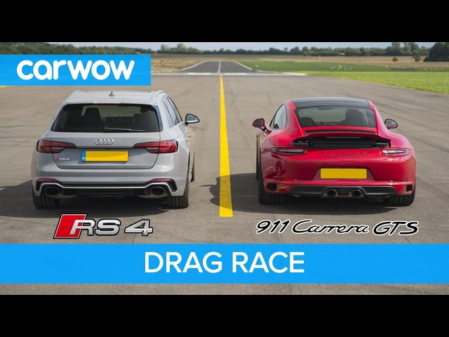 <em>Porsche</em> 911 GTS vs Audi RS4 - DRAG RACE, ROLLING RACE AND BRAKE TEST