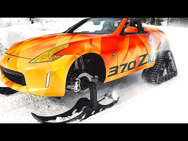 One Off Nissan 370Zki Snowmobile Driving Video 2018 DOMINATOR Tracks American Track Truck CARJAM