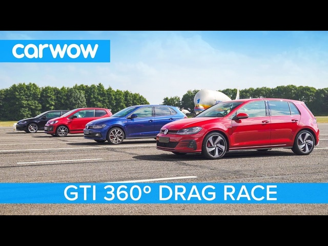 VW Golf GTI v Polo GTI v Golf Clubsport S v Up! GTI - 360° DRAG & ROLLING RACE