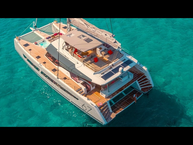 Floating Penthouse Superyacht INTERIOR Video Fountaine Alegria 67 Catamaran Sailing Yacht
