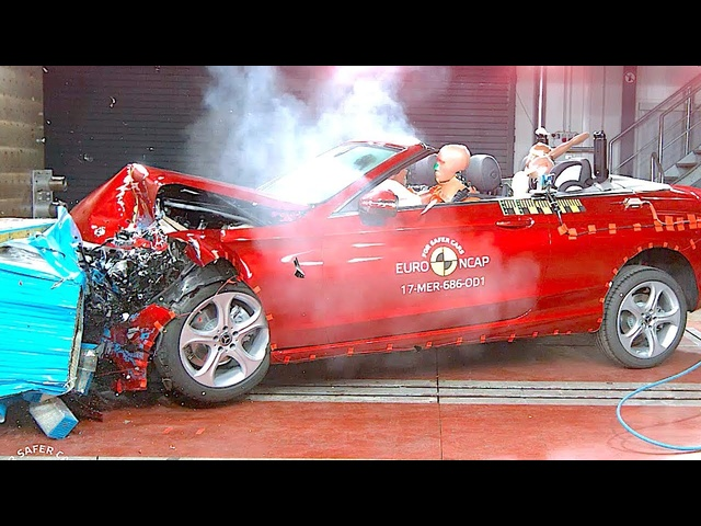Fascinating + Scary Mercedes Cabriolet Crash Test 5 Star Rating Video Mercedes C Class Convertible