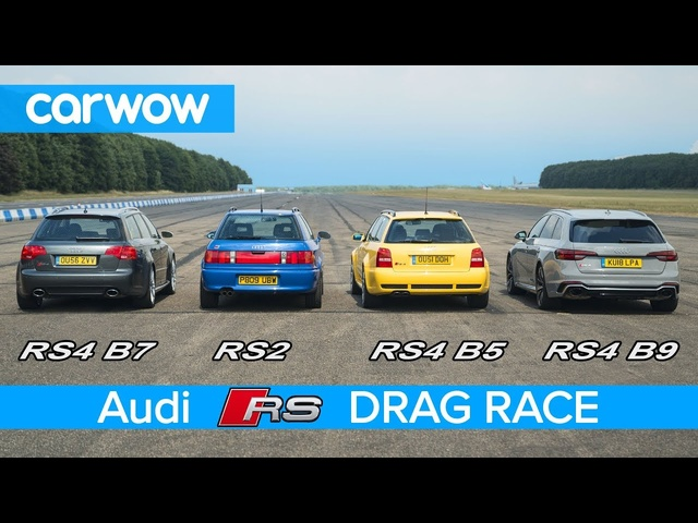 <em>Audi</em> RS4 generations DRAG RACE, ROLLING RACE & review | carwow