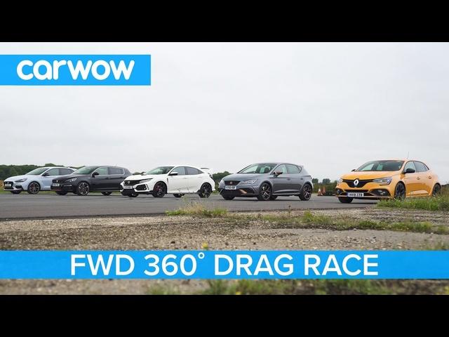 i30N vs Type-R vs Megane RS vs Cupra R vs 308 GTi -360° DRAG & ROLLING RACE
