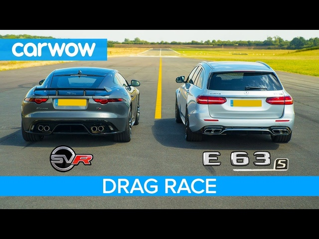 <em>Jaguar</em> F-Type SVR vs Mercedes-AMG E63 S - DRAG RACE, ROLLING RACE & BRAKE TEST