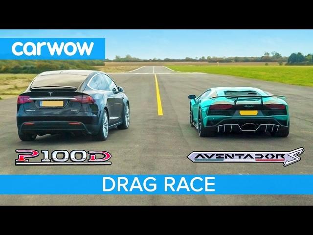 Lamborghini Aventador vs Tesla Model X -DRAG & ROLLING RACE -Can an EV SUV beat asupercar?