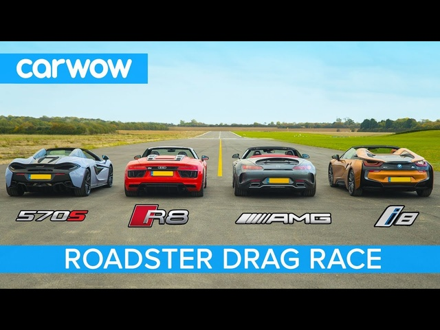 AMG GT C vs <em>Audi</em> R8 vs McLaren 570S vs BMW i8 - Roadsters ROOF, DRAG and ROLLING RACE!