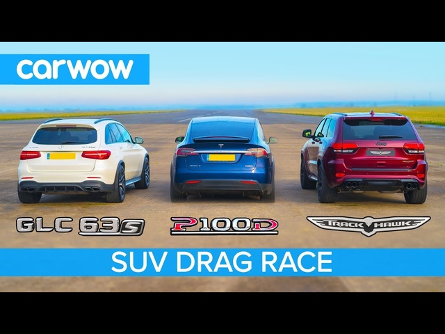 Jeep Trackhawk vs <em>Tesla</em> Model X vs AMG GLC 63 - DRAG RACE, ROLLING RACE & BRAKE TEST