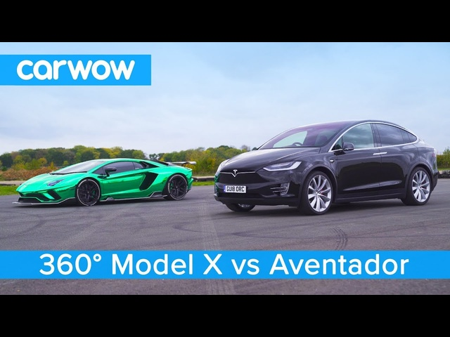 <em>Lamborghini</em> Aventador vs Tesla Model X -360° DRAG & ROLLING RACE