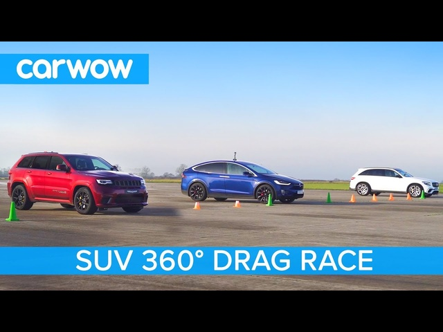 Tesla Model X P100D vs Jeep Trackhawk vs AMG GLC 63 - 360º DRAG & ROLLING RACE